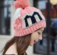 Women S Fashion Winter Warm Letter M Five Pointed Star Beanie Handmade Knitted Hat Cap