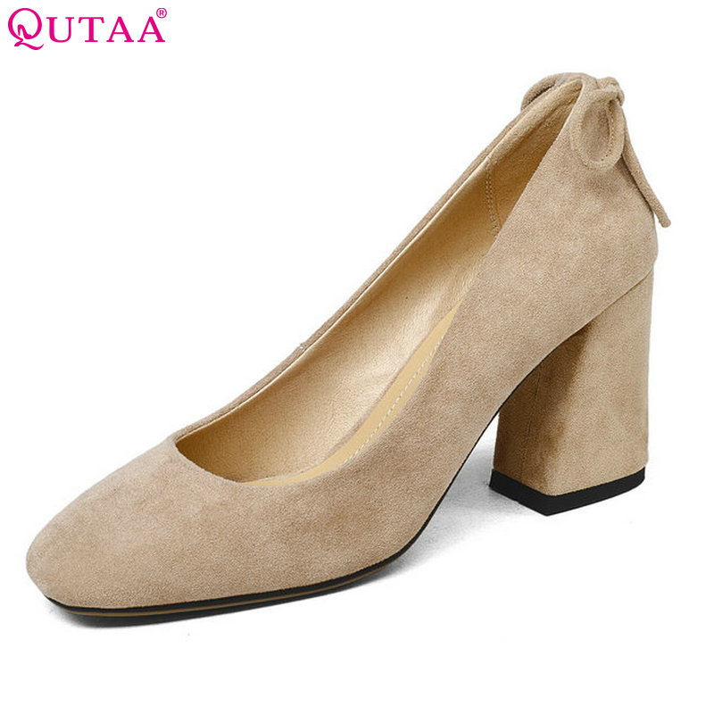 QUTAA 2018 Shoes Women Bow-tie Flock Square High Heel Platform Women Pumps Pointed Toe Ladies Wedding Woman Shoes Size 34-43