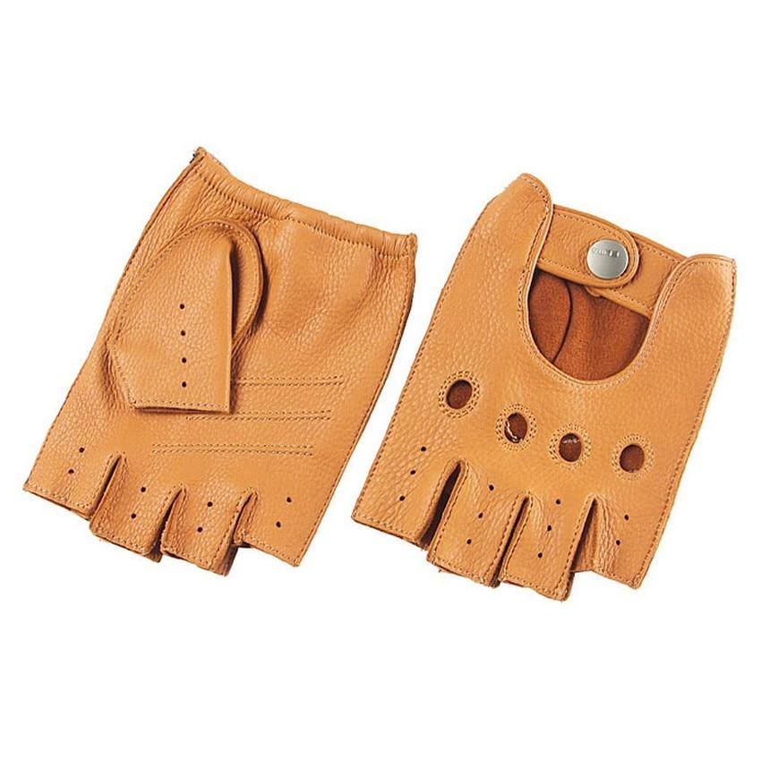Fashion 2017 Men Deerskin Gloves Wrist Half Finger Driving Glove Solid Adult Fingerless Mittens Real Genuine Leather EM001W