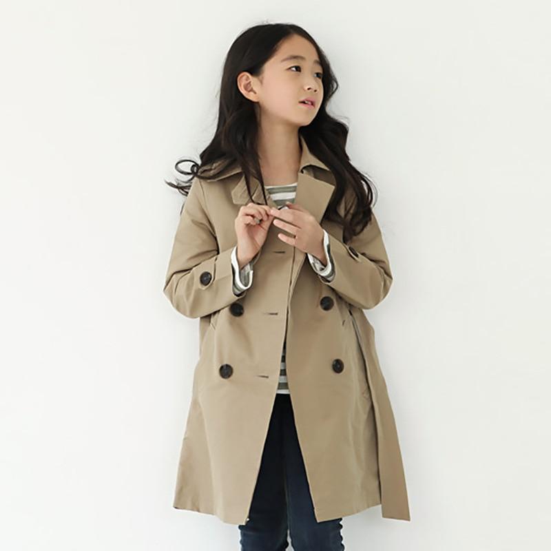 ФОТО Girl Windbreaker Loose Coat Long Korean Children's Garment Child Pure Cotton Both Row Buckle Trench Kids Clothing Khaki