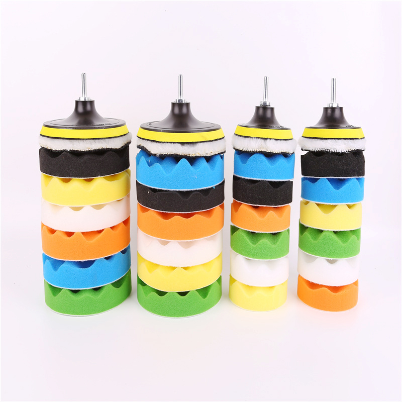3 Inch Car Beauty Waxing Polishing Tool 8 Piece Waxed Polished Sponge Pad Set Polishing Pad Sponge Wheel Car Polishing Tools