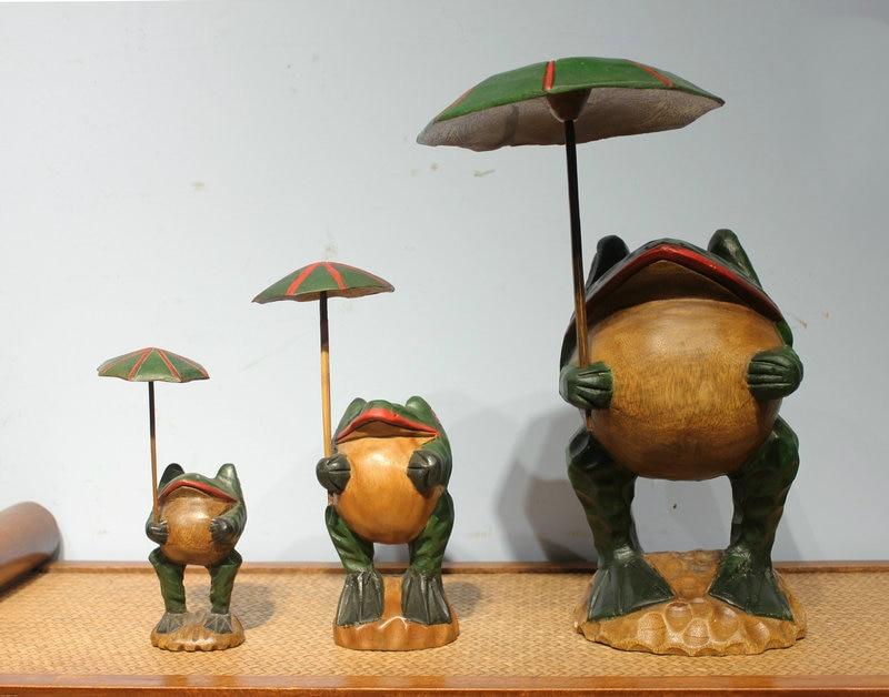 Gros thaïlande artisanat traditionnel en bois grenouille chanceux Art Figurines Miniatures décoratives décor de bureau à la maison