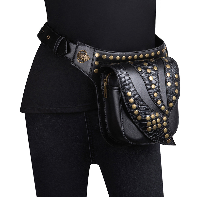2019 Personality Waist Handbag Leisure Outdoor Sports Retro Men Steampunk Shoulder Bag Mobile Phone Messenger Motorcycle Bag in Shoulder Bags from Luggage Bags