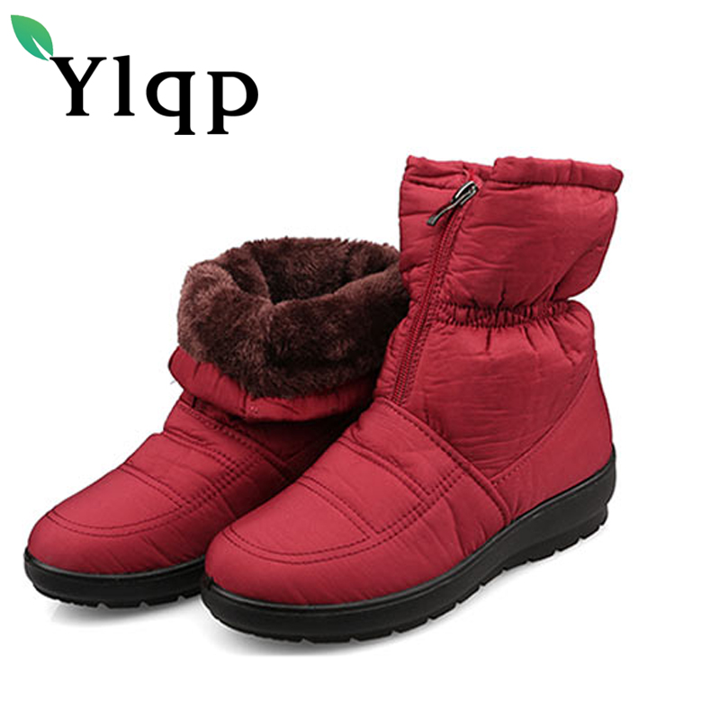 Gykaeo Winter Women Warm Boots Female Large Size Non Slip Waterproof Ankle Snow Boots Mother Plush Flats Shoes Sapato Feminino лента светодиодная эра ls3528 120led ip20 ww eco 3m