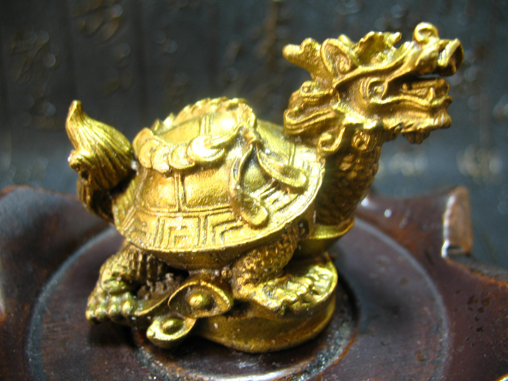 Čína fengshui bronzová mosaz drak želva želva bohatství štěstí dlouhověkost socha kov řemeslné