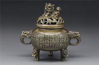 China BRASS Handwork Incense Burner w dragon head lion censer qian long Mark Healing Medicine Decoration 100% Brass BRASS