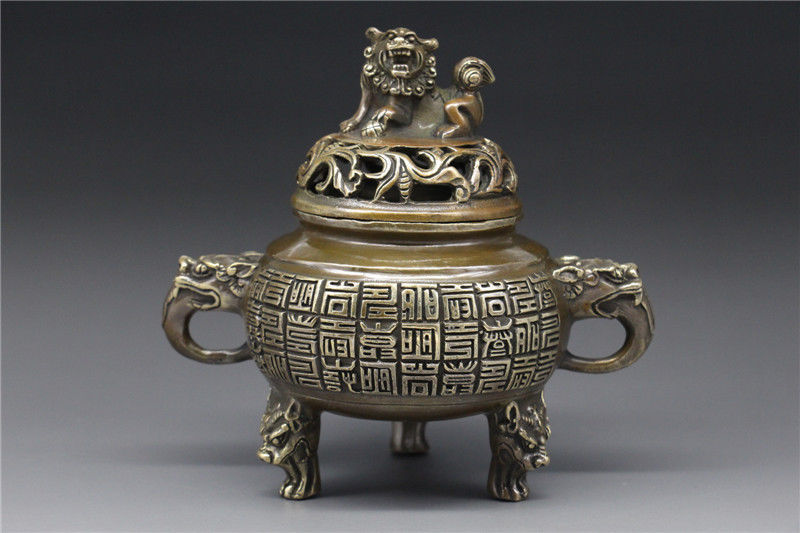 Chine laiton travail manuel brûleur d'encens w tête de dragon encensoir de lion qian longue marque de guérison médecine décoration 100% laiton laiton