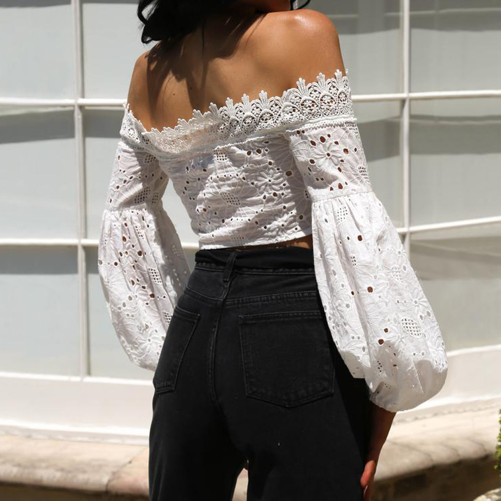 HTB1NEuwbm8YBeNkSnb4q6yevFXap - Fashion Ladies Off Shoulder Lace Blouses Women Summer Long Sleeve Bandage Crop Tops Shirt Sexy Hollow-out Casual White Blouse #L