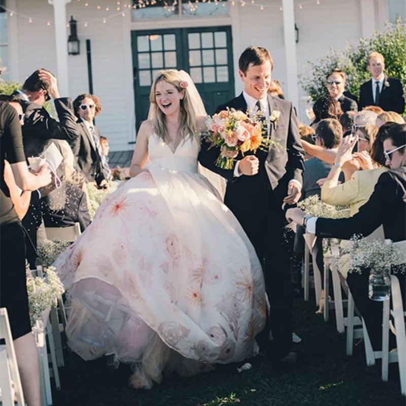 Romantic Pink Long Ball Gown Wedding Dresses Spaghetti Straps Petite ...