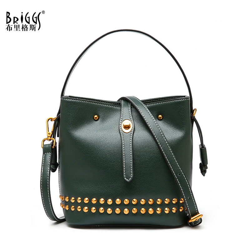 BRIGGS Vintage Genuine Leather Women Bags Rivet Bucket Small Messenger Bag Women Leather Handbags Luxury Shoulder Bags For Women 1pair iron shoe rack flip frame 2 layers option black color hidden hinge