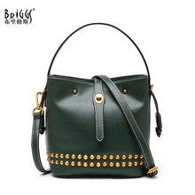 BRIGGS Vintage Genuine Leather Women Bags Rivet Bucket Small Messenger Bag Women Leather Handbags Luxury Shoulder Bags For Women