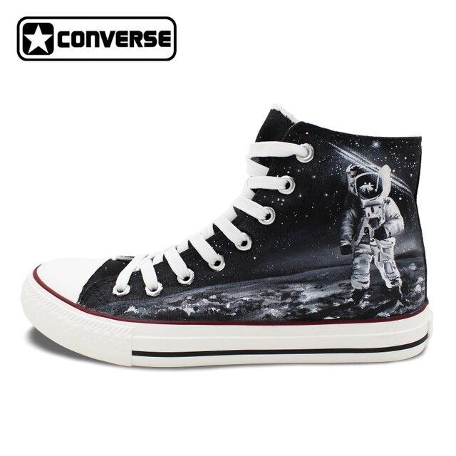 Hommes Femmes Mandrins Taylor Toile Chaussures Conception Originale  Spaceman Astronaute Univers Planète Surface Peinte à la