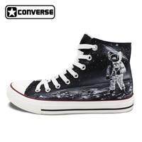 Men Women Chucks Taylor Canvas Shoes Original Design Spaceman Astronaut Universe Planet Surface Hand Painted Sneakers High Tops