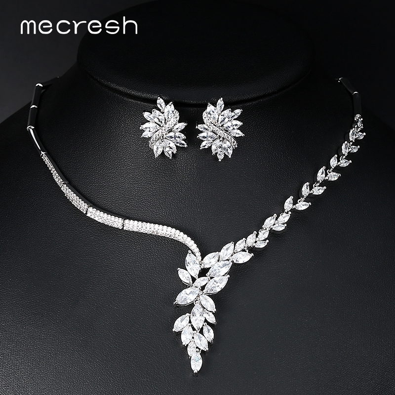 Mecresh Top Cubic Zirconia Bridal Jewelry Sets Silver Color Flower Necklace Earrings Sets Wedding Accessories TL335Mecresh Top Cubic Zirconia Bridal Jewelry Sets Silver Color Flower Necklace Earrings Sets Wedding Accessories TL335