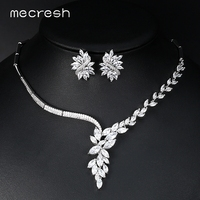 Mecresh Top Cubic Zirconia Bridal Jewelry Sets Silver Color Flower Necklace Earrings Sets Wedding Accessories TL335
