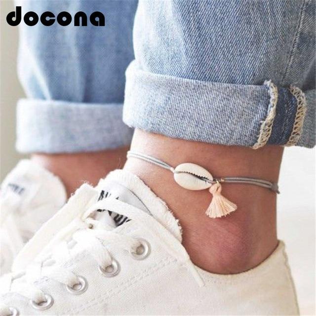 Docona 自由奔放に生きるシェルペンダント女性ガールグレーロープ調節可能なアンクレットブレスレットビーチフットジュエリー 6763