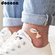 docona Boho Tassel Shell Pendant Anklet for Women Girl Gray Rope Adjustable Anklets Bracelets Beach Foot Jewelry 6763(China)