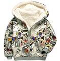 Otoño e invierno de los niños sudaderas con capucha de manga larga de lana gruesa minnie sudadera con cremallera infantil chicos y chicas casual prendas de vestir exteriores caliente