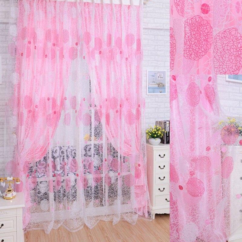 Floral Print Pastoral Window Curtain Door Room Divider Sheer Panel ...