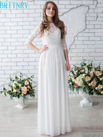 BRITNRY High Quality Scoop Three Quarter Lace Tops Chiffon Beach Ivory White Long Wedding Dress
