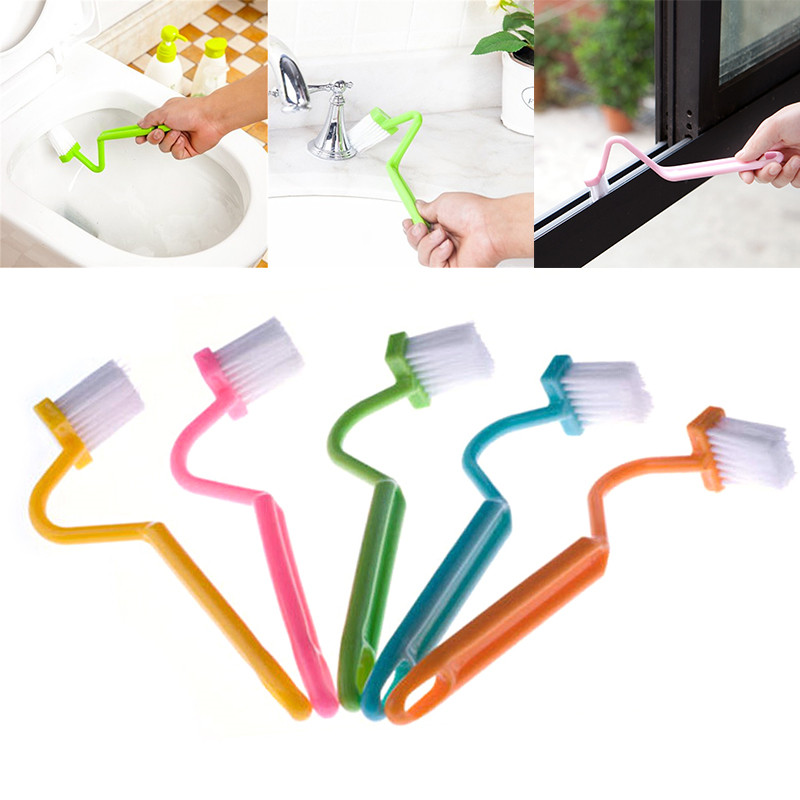 1PC V Shape Toilet Cleaning Brush Portable Toilet Corner Brush Scrubber Curved Clean Side Bending Handle Brush New Random Color