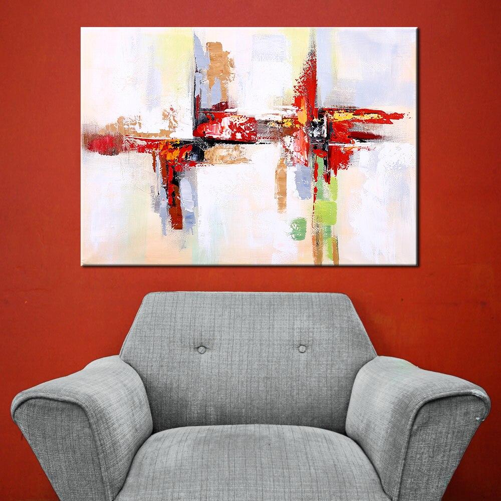 Wall Art Handgeschilderde Modern Abstract Rood Olieverfschilderij - Huisdecoratie