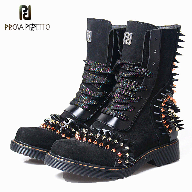 Prova Perfetto Autumn Rivets Cow Genuine Leather Mid High Heel Woman Boots Round Toe Low Heel Motorcycle Boots With Plush Inner prova perfetto fashion round toe low heel mid calf boots feminino buckle belt thick bottom genuine leather women s martin boots