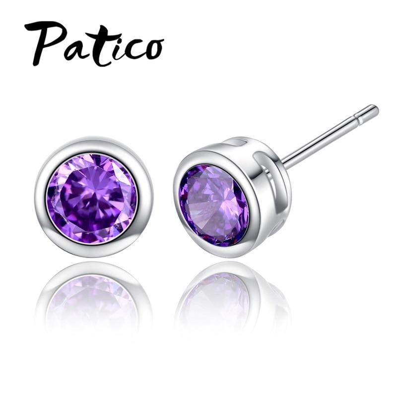 Korean Fashion 925 Sterling Silver Jewelry New Design Stud Earrings CZ Cubic Zircon Earrings For Women Brinco Purple Joyas in Stud Earrings from Jewelry Accessories