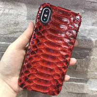 Luxury Genuine Python Skin Leather Case For Apple IPhone X Original Real Snake Skin Leather Back