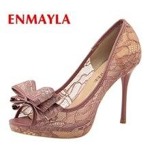 ENMAYLA Mesh (Air mesh) Basic Casual high heels sandals women 2019 summer fashion Slip-On shoes woman size 34-40 LY1152