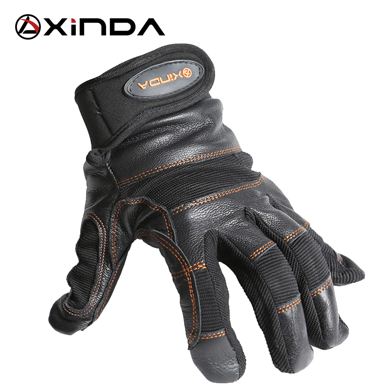 XINDA SRT Toboggan Down Abseiling Rope <font><b>Climbing</b></font> Caving Rescue Wear Non-slip Protective Leather Gloves