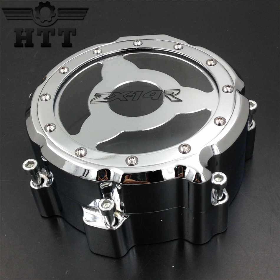 Aftermarket free shipping motorcycle parts Engine Stator cover see through for Kawasaki  ZX ZX14R ZZR1400 2006-2013 CHROME left for motorcycle suzuki gsxr 600 750 2006 2013 engine stator cover see through chrome left side