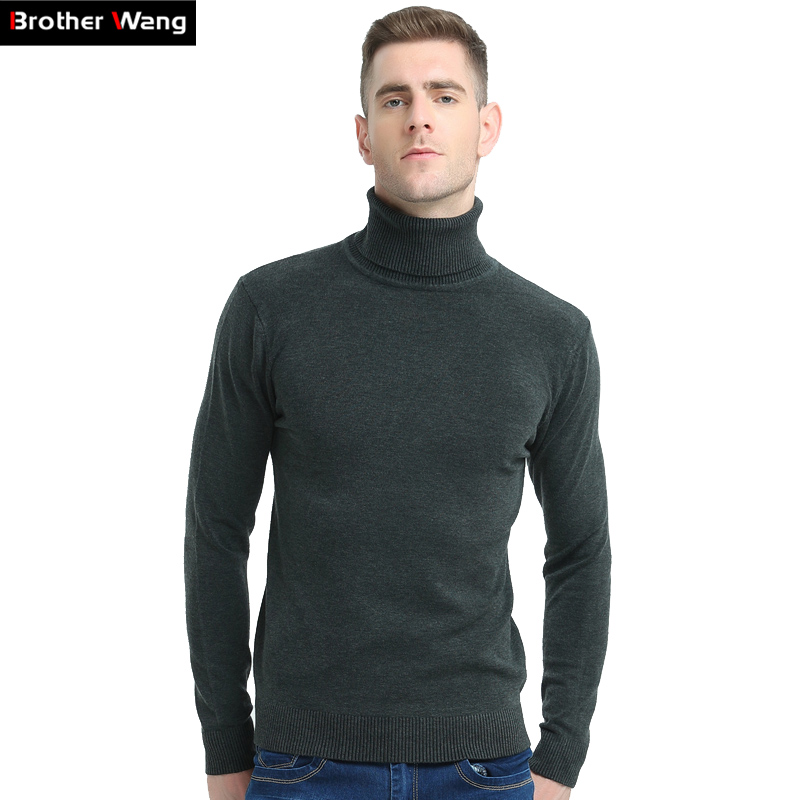 Brother Wang 2020 New Autumn Winter Brand Sweater Men's Turtleneck Slim Pullover Solid Color Knitted Sweater Men