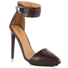 Burgundy Two Piece Ankle Strap Pointed Toe Stiletto Women Pumps High Heels Shoes Woman Pumps Made-to-order Buckle OL Shoes Women