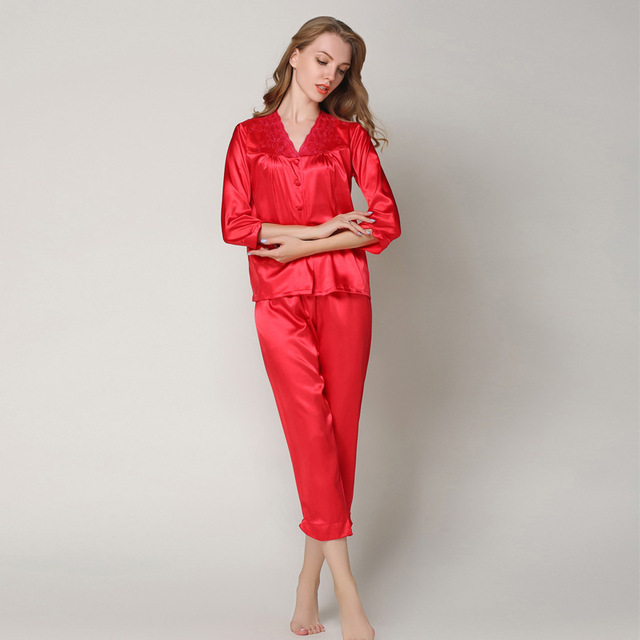 a33076c233 2019 Embroidery Female Pajamas Homewear Elegant Women's Silk Satin Long  Pyjamas 2 Pieces Spring Autumn Sleepwear pijamas S88505
