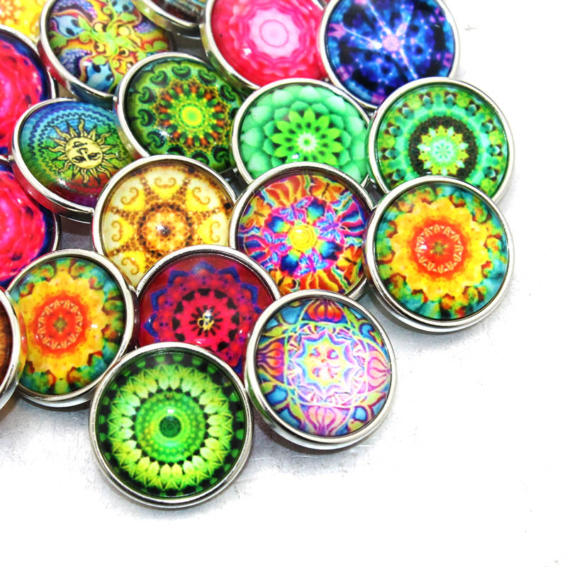 10 pcslot Mixed Colors Art bohemia 18mm snap button Jewelry Faceted glass Snap Fit snap Bracelet Button Jewelry 020716