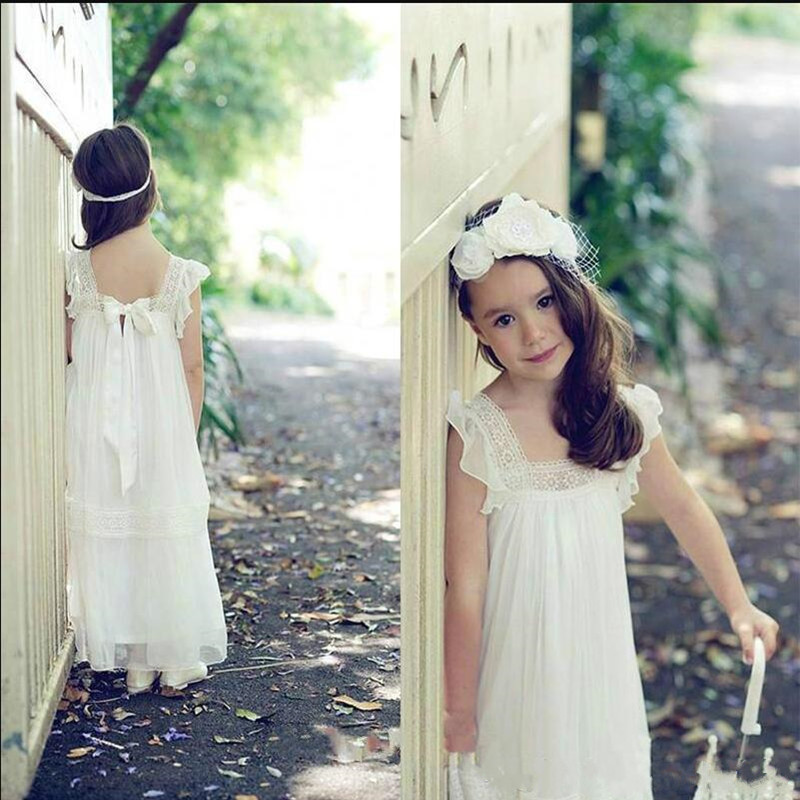 Simple Design Soft Chiffon Flower Girl Dress For Special Occasion Square Neck Ribbons Lace Appliques Custom Made A-line Dresses