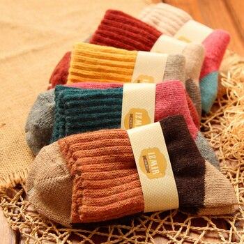 Фирменные зимние носки из меха кролика для женщин, ретро национальный стиль, термальные, высокое качество, уплотненные, теплые, 5 пар/набор