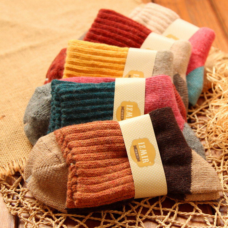 5Pairs/Lot High Quality Women Winter Vintage Rabbit Wool Socks Thicken Warm Female Fashion Patchwork Retro Thermal Cotton Socks
