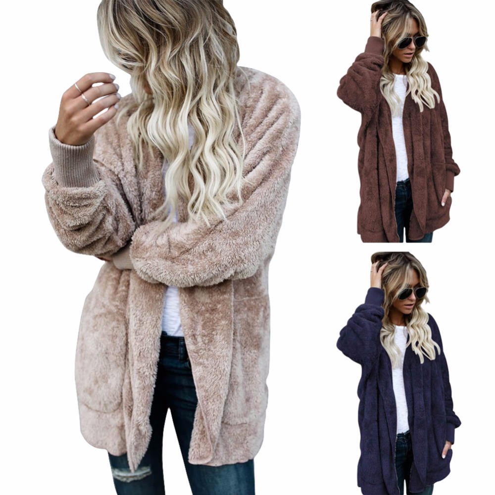 2017 New Fashion Women Plush Hooded Long Coat Autumn Winter Warm Faux Fur Zipper Jacket Overcoat Chaquetas Mujer