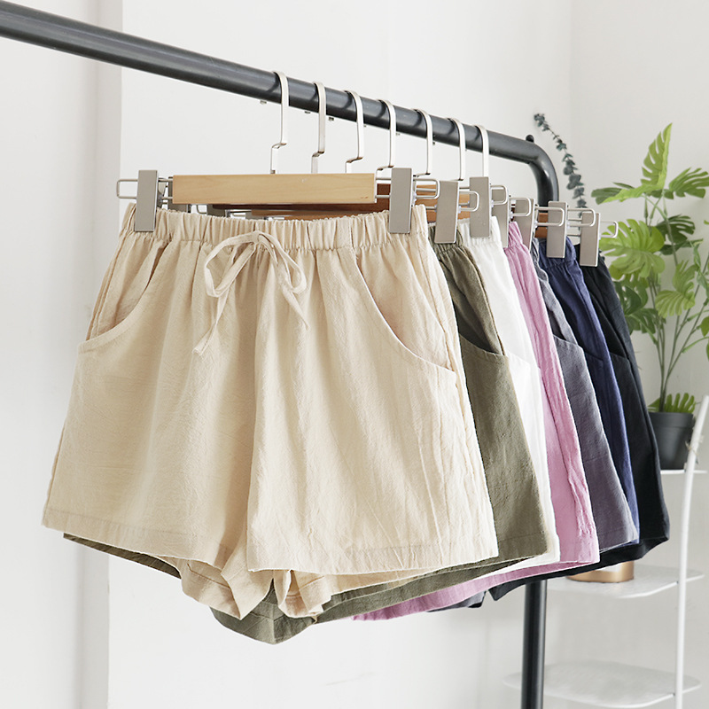 Summer Casual   Shorts   Beach Elastic With Belt High Waist   Shorts   Women   Shorts   Fashion Girls Solid Color Casual   Shorts