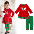 2016 Red Girls Clothes Set Dot Dresses+Leggings Suit Christmas Deer Kids Clothes Set Children Clothing Christmas Party Costume