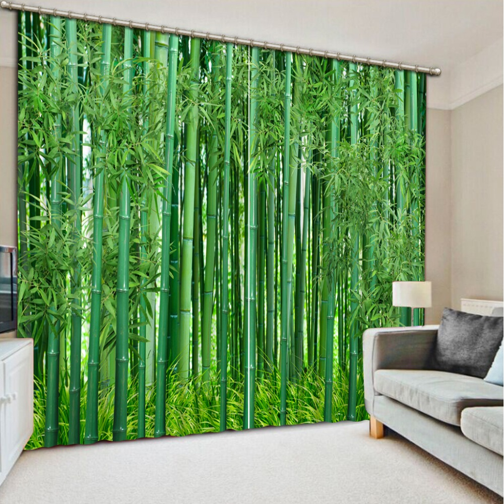 Green Bamboo Forest Blackout Window Drapes Luxury Modern