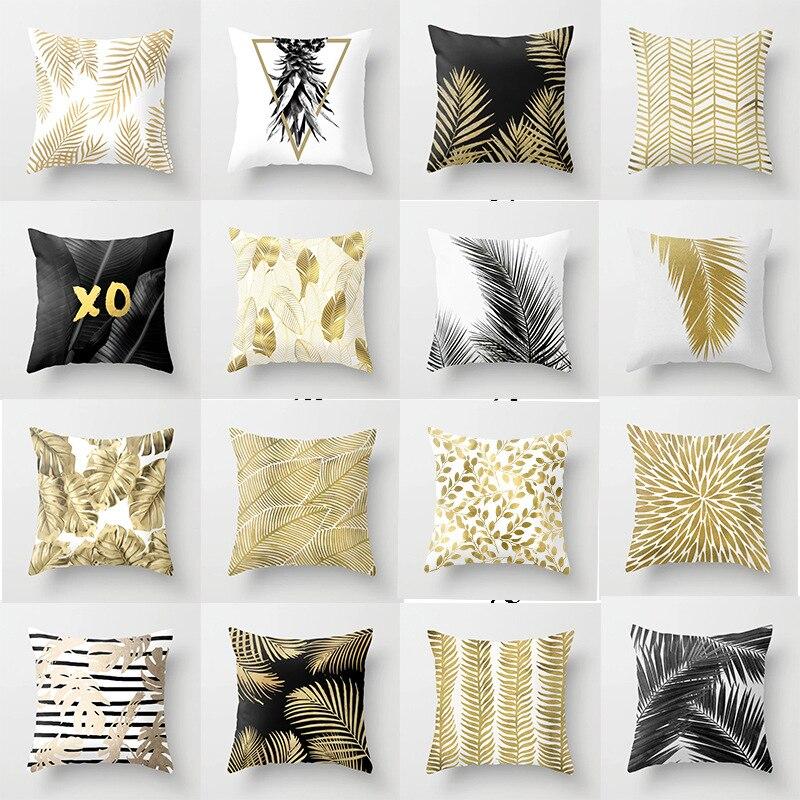 Nordic comfortable pillow cushion Golden leaves Bed Home Pillow white black Cushion Sofa Car seat Waist Throw Cushion