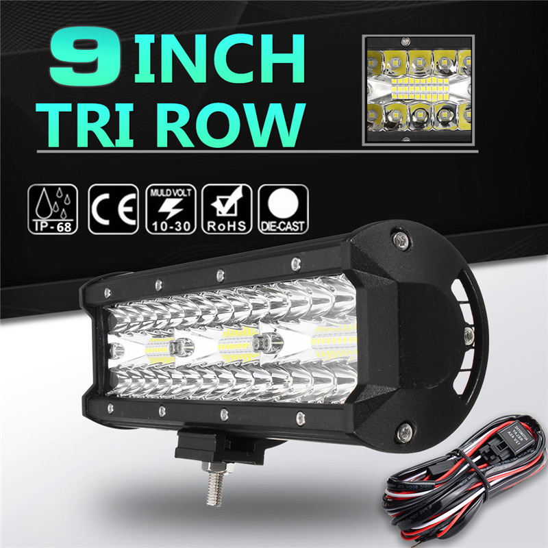 1Pcs 9 Inch 60LEDs Work Light Bar 180W led Flood Spot Combo 6000K LED Work Light For SUV ATV Offroad 4WD Car Truck Driving Lamp tripcraft promotion 20 inch 60w crees led single row work light bar spot flood combo offroad driving lamp suv atv 10v 30v