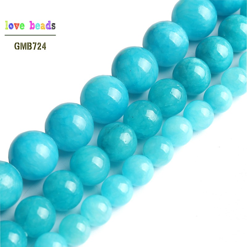Blue Jades Round Stone Beads For Jewelry Making 15.5inches DIY Bracelet Jewellery 6mm 8mm 10mm