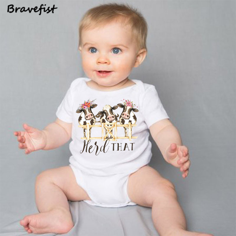 817358f6342a White Cow Newborn Bodysuits Cartoon Summer Kids Clothes Held That ...