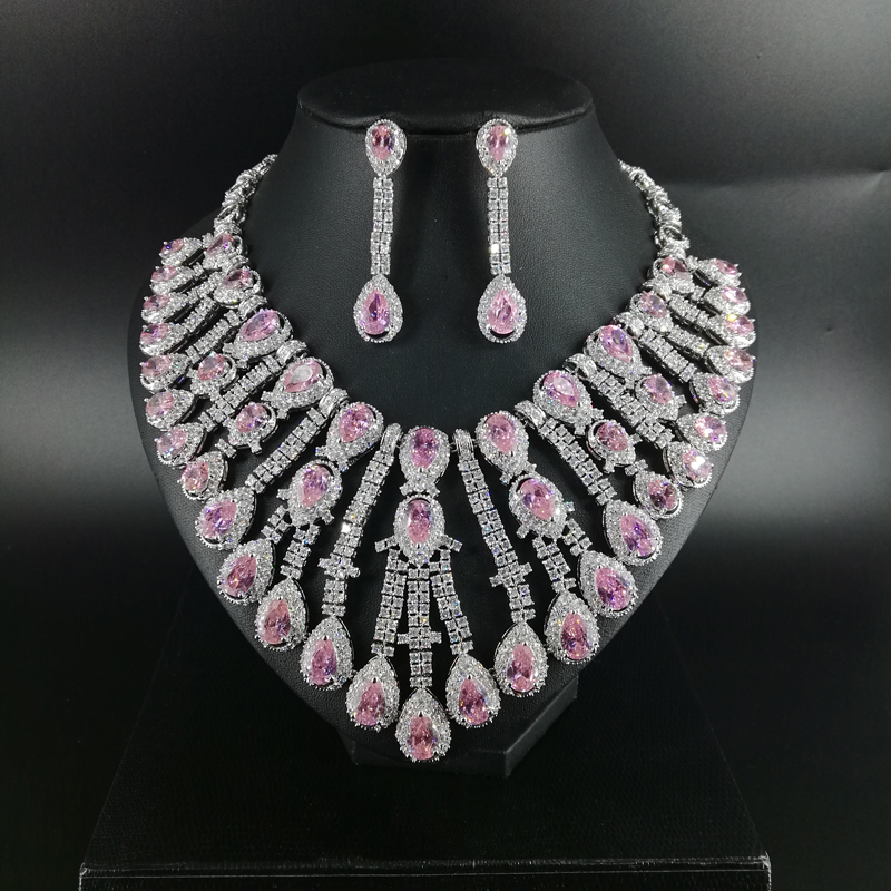 New fashion Luxury pink water droplet zircon necklace earring wedding bride banquet dressing dinner jewelry set
