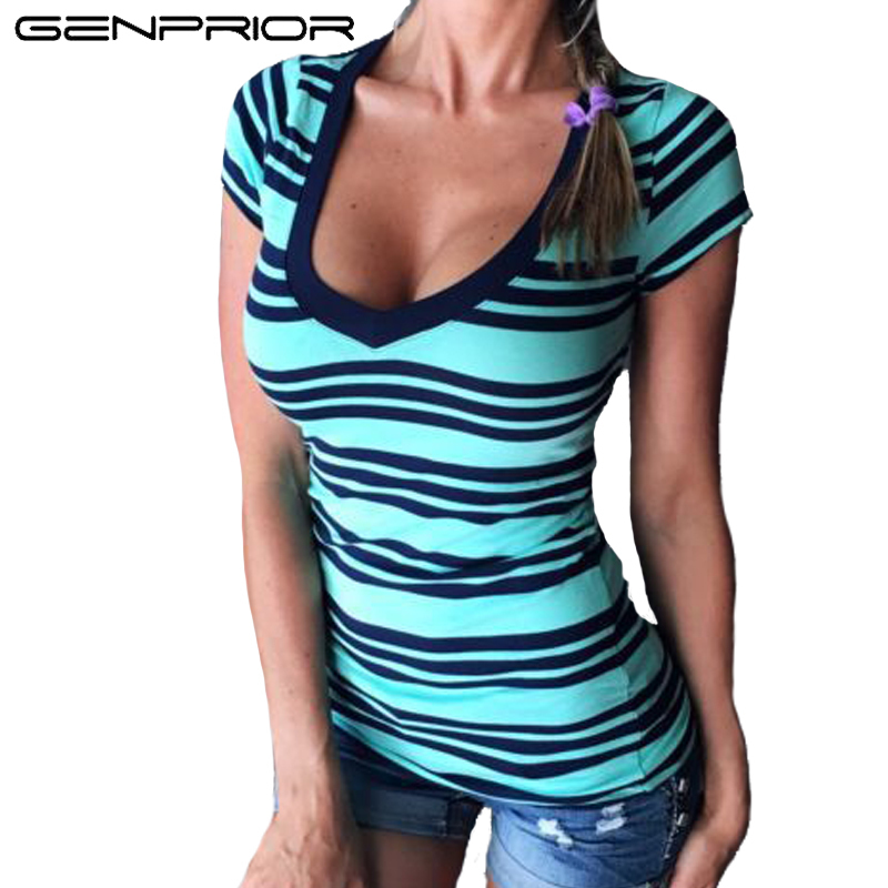 GENPRIOR Summer Women Sexy V-neck Stripe T-shirt Lady Stretch Knitted Fabric Tops Short Sleeve Female Casual Slim Fit T-Shirts
