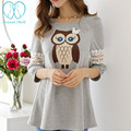 805# A Line Hollow Out Lace Sleeve Owl Printed Maternity T-shirts 2017 Summer Clothes for Pregnant Women Pregnancy Tunic Tops